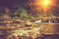 Härligt landskap av forsar på en bergflod i soluppgång arkivbilder