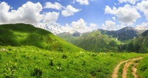 Härligt landskap av gröna berg i Georgia, Svaneti Scenisk sikt på kullar och berget på vibrerande sommardag fotografering för bildbyråer