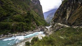 Härligt landskap av Himalaya på Annapurnaen arkivbild