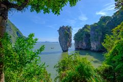 Härligt landskap av James Bond Island-Koh Tapu, Phang Nga fjärd, Thailand royaltyfri foto