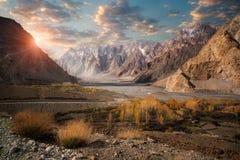 Härligt landskap av Pasu, Pakistan Arkivfoto
