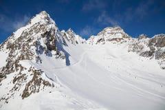 Pitztal gletscher skidar semesterorten Royaltyfri Fotografi