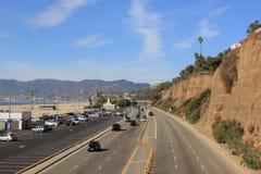 Härligt landskap av Santa Monica Beach och Stillahavskusten Highwa Fotografering för Bildbyråer