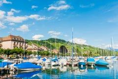 Härligt landskap av sjöGenève Arkivbilder