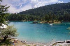 Härligt landskap av sjön Cauma i Schweiz Royaltyfri Bild