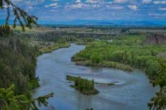 Härligt landskap av Snaket River som slingrar till och med öknen av Idaho Snaket River ger världsgrupp Royaltyfri Foto