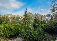 Härligt landskap av Tatra berg, del av den Carpathian bergskedjan i Eastern Europe, mellan Slovakien och Polen royaltyfri foto
