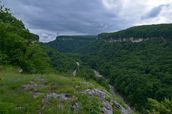 Härligt landskap i en bergdal Grön lövverknolla för sommar Arkivbild
