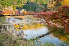 Härligt landskap i höst på Korankei, Japan Arkivbild