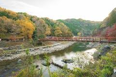 Härligt landskap i höst på Korankei, Japan Arkivbilder