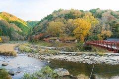 Härligt landskap i höst på Korankei, Japan Royaltyfria Bilder