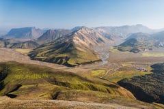 Härligt landskap i Landmannalaugar NP, Island Arkivfoto