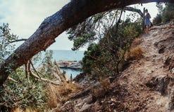 Härligt landskap i Spanien Sommar Resor Kvinna Arkivbilder
