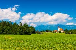 Härligt landskap med berg, Slovenien Royaltyfri Bild