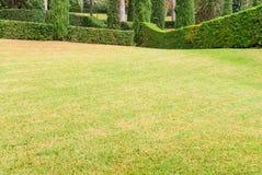 Härligt landskap med exakt klippt gräs och dekorativa buskar Costa Brava, Spanien royaltyfria foton