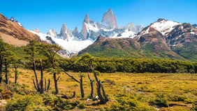 Härligt landskap med Mt Fitz Roy i nationalparken för Los Glaciares, Patagonia, Argentina, Sydamerika Arkivbilder