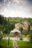 Härligt landskap med nomandstältet fotografering för bildbyråer