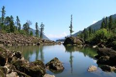 Härligt landskap med stenar i vatten Royaltyfri Bild