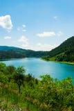 Härligt landskap med vatten, berg, skogen och klar himmel Arkivfoto