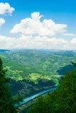 Härligt landskap med vatten, berg, skogen och klar himmel Royaltyfria Bilder
