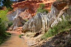 Härligt landskap på The Creek feer Omgivningen av Phan Thiet Royaltyfria Foton