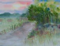 Härligt landskap, vattenfärgmålning Arkivbilder