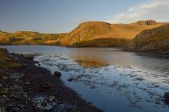 Härligt landskaplandskap med reflexion på Shetland öar Arkivbild
