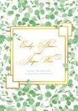 Härligt lantligt bröllopinbjudankort med eukalyptusgräsplan l royaltyfri illustrationer