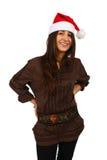 härligt le för julflicka royaltyfria bilder