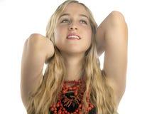 Härligt le för tonårs- flicka som är lyckligt Arkivbilder