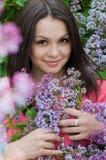 härligt lila rosa kvinnabarn Royaltyfri Fotografi
