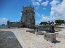 Härligt Lissabon Torre de belem torn i en solig dag royaltyfria bilder