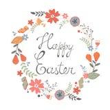 Härligt lyckligt påskkort med den blom- kransen Royaltyfria Bilder