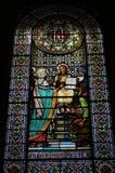 Härligt målat glassfönster i Montserrat royaltyfri foto