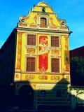 Härligt målat hus i Memmingen Royaltyfri Bild