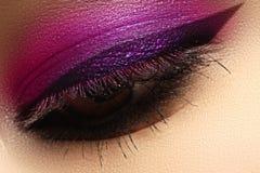 Härligt makroskott av det kvinnliga ögat med idérik makeup brigham arkivbilder
