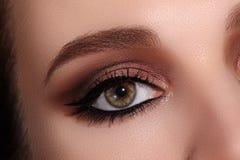Härligt makroskott av det kvinnliga ögat med klassisk eyelinermakeup Göra perfekt form av ögonbryn Skönhetsmedel och smink arkivfoto