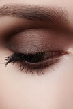 Härligt makroskott av det kvinnliga ögat med rökig makeup Göra perfekt form av ögonbryn royaltyfria bilder