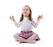 härligt meditera för golvflicka Royaltyfri Bild