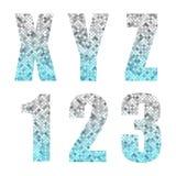 Härligt moderiktigt blänker alfabetbokstäver och nummer med silver för att slösa ombre vektor illustrationer