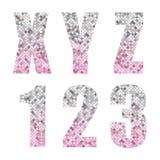 Härligt moderiktigt blänker alfabetbokstäver och nummer med silver till rosa ombre royaltyfri illustrationer