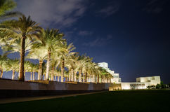 Härligt museum av islamisk konst i Doha, Qatar på natten Royaltyfri Bild
