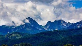 Härligt naturligt landskap av fjällängarna Forggensee och Schwanga Royaltyfria Foton