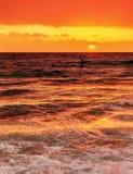 härligt over hav skjuten sommarsolnedgång Fotografering för Bildbyråer