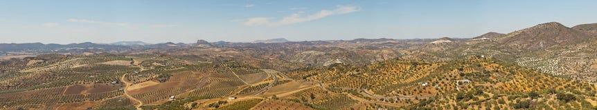 Härligt panorama- foto av toppig bergskedja de Grazalema. fotografering för bildbyråer