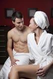 härligt parbrunnsortbarn Royaltyfria Bilder
