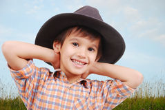 härligt pojkehatthuvud little Royaltyfri Foto