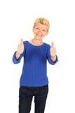 härligt posera för affärskvinna Arkivfoto