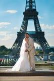 Härligt precis gift par i Paris Arkivbilder