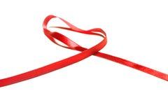 Härligt rött band, goda för design. Isolerat på en vit bakgrund Royaltyfria Foton
